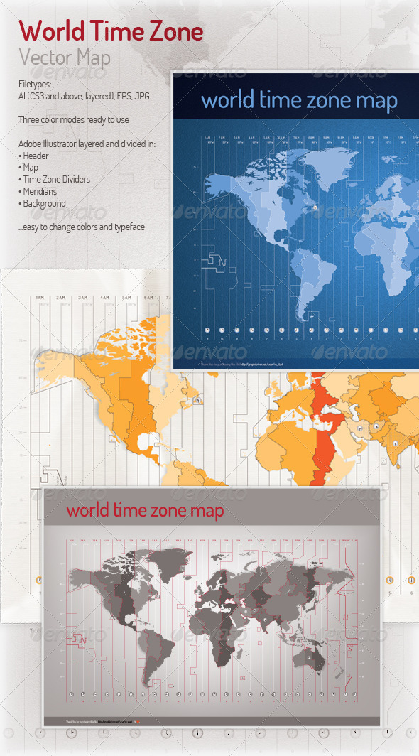Time Zone Vector Map - Miscellaneous Conceptual