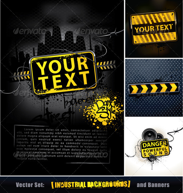 Vector set of industrial backgrounds and banners - Vectors