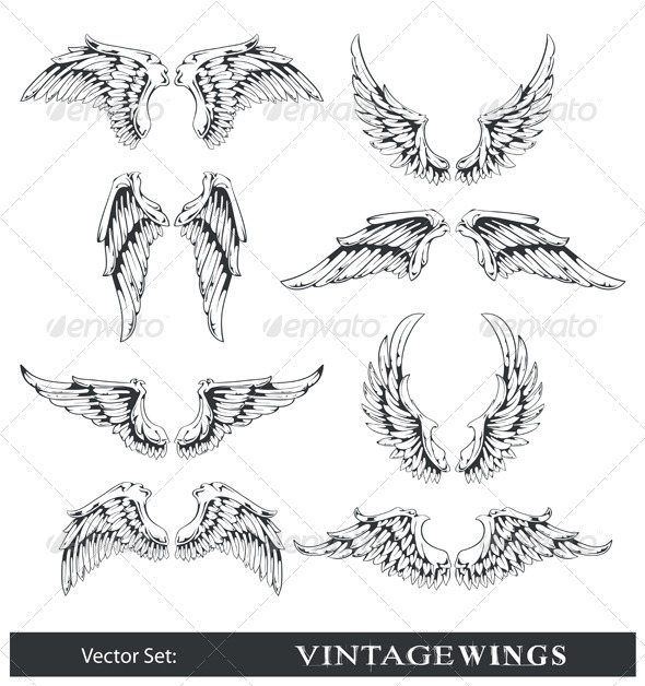 Vector set of wings - Tattoos Vectors