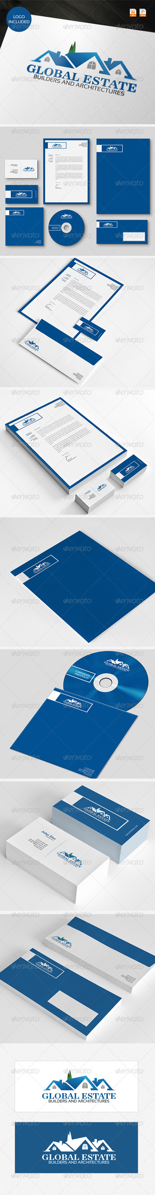 Global Estate Logo & Identity - Stationery Print Templates