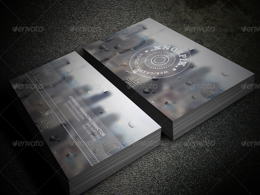 Water Drop Business Card by -axnorpix | GraphicRiver