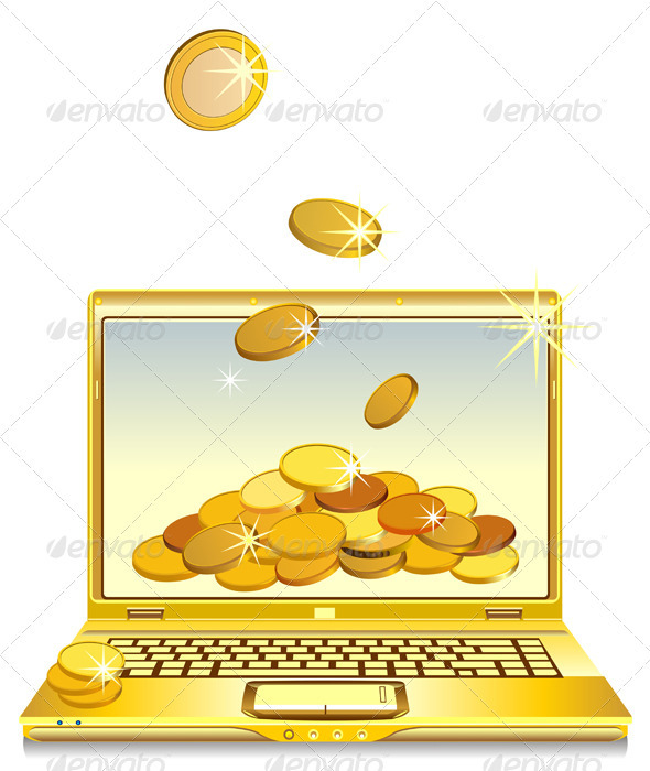 Vector open notebook with gold coins  - Man-made Objects Objects