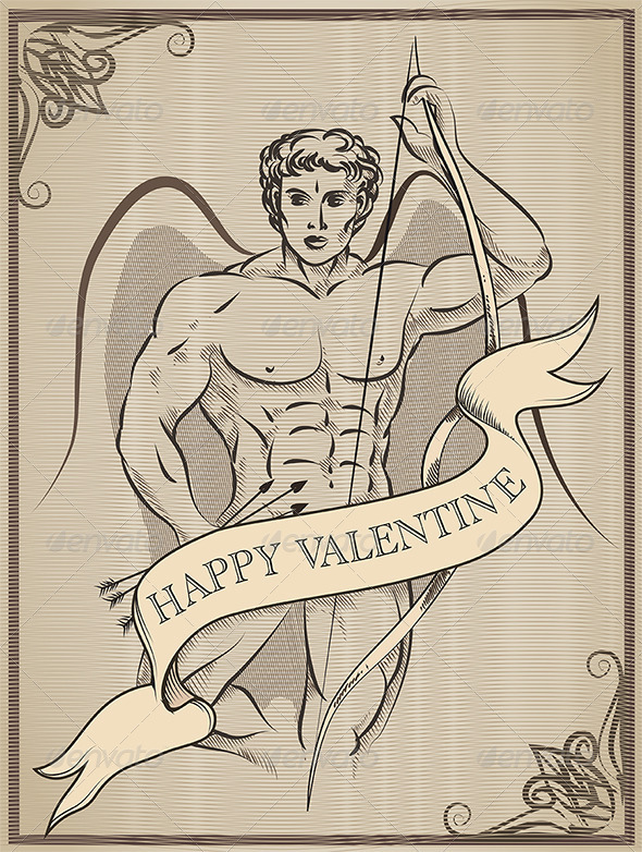 Greeting Card with God of Love - Valentines Seasons/Holidays