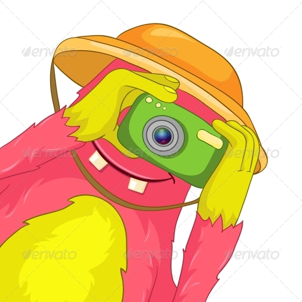 Funny Monster. Tourist Photographer. - Monsters Characters