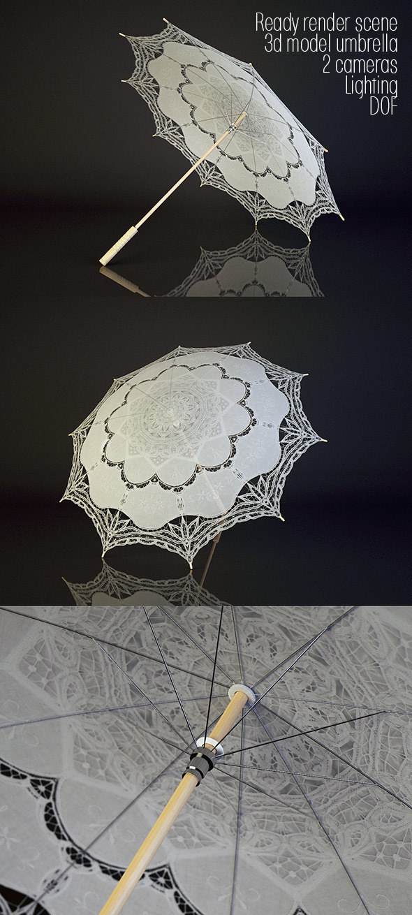 3d model lacy umbrella and render scene - 3DOcean Item for Sale