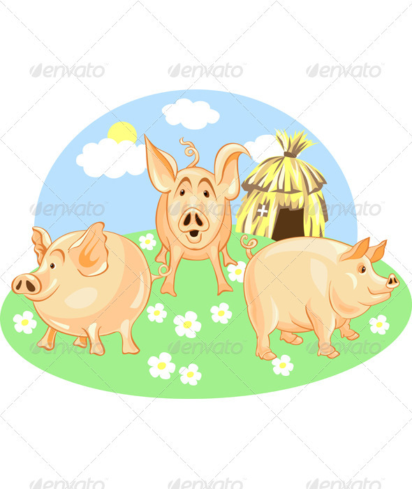 Vector three little pigs - Animals Characters
