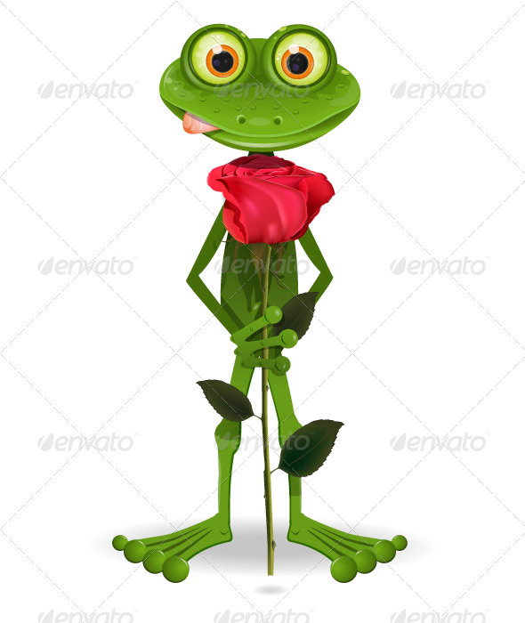 frog with rose - Animals Characters