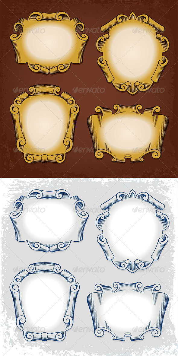 Vintage Vector Frames Cartouches Ribbons - Borders Decorative