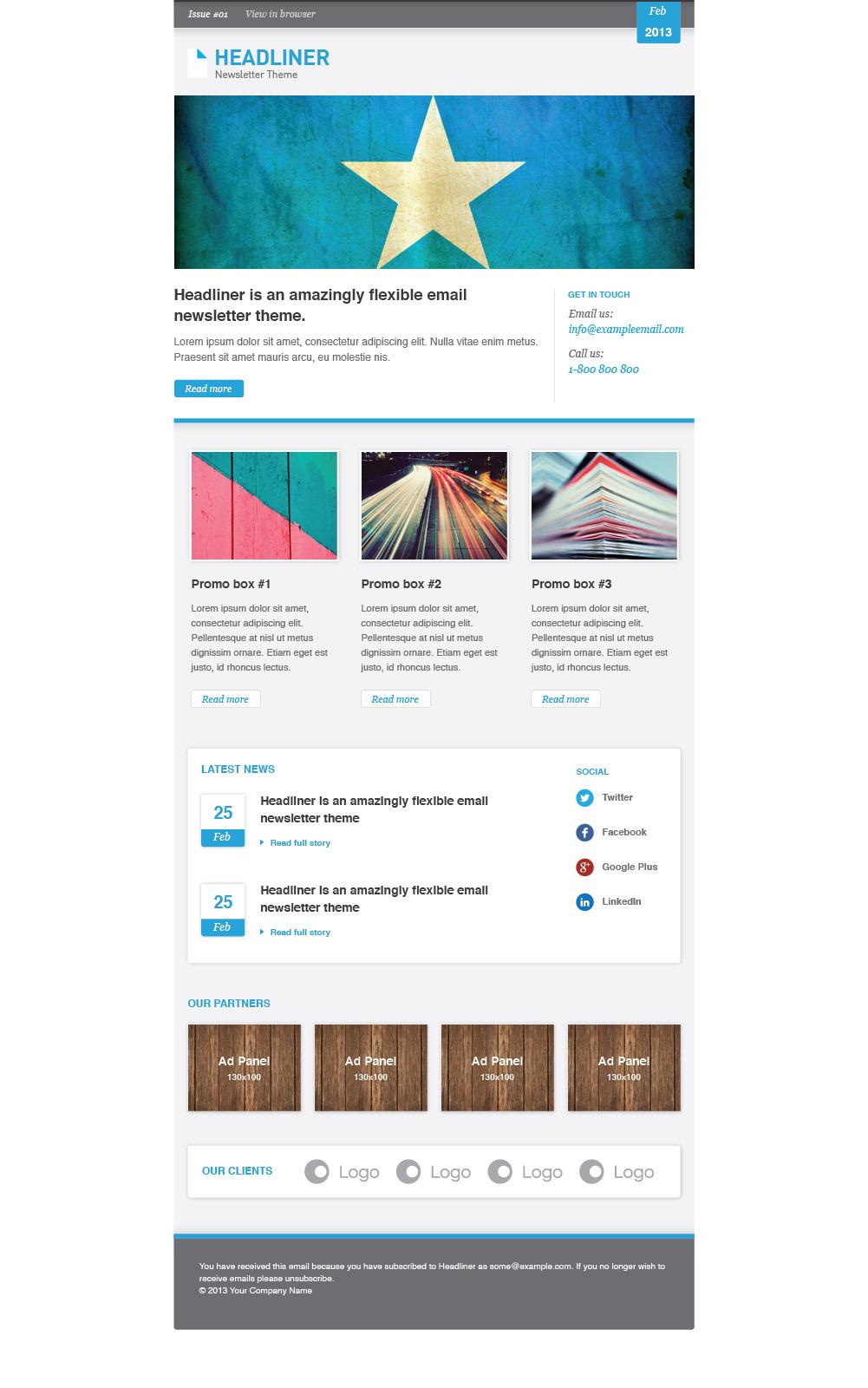 headliner email marketing newsletter template by. Black Bedroom Furniture Sets. Home Design Ideas