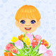 Vector Boy with a Festive Bouquet of Flowers - GraphicRiver Item for Sale
