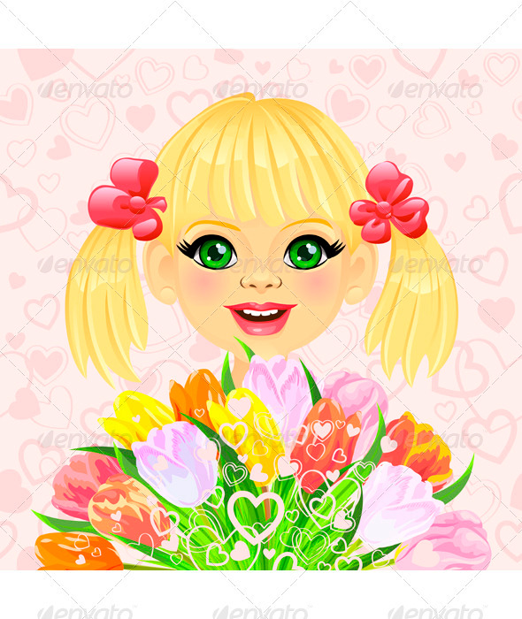 Vector pretty Girl with festive bouquet of Flowers - Valentines Seasons/Holidays