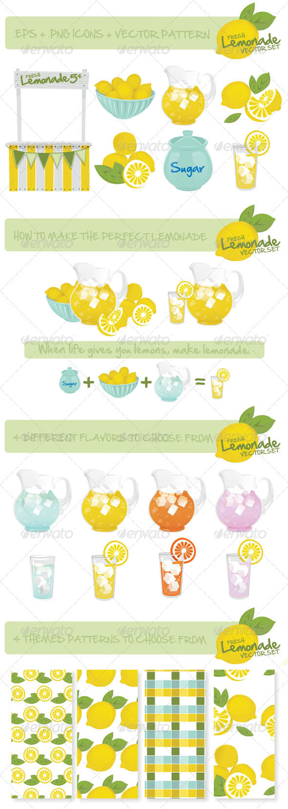 Lemonade's Stand Vector Set - Food Objects