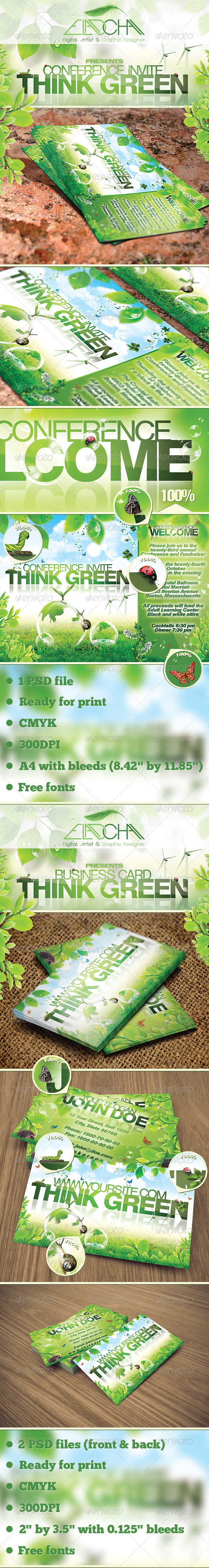 Think Green Bundle Flyer & Business Card - Corporate Flyers
