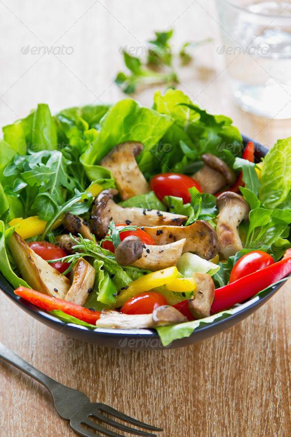 Grilled Mushroom salad - Stock Photo - Images