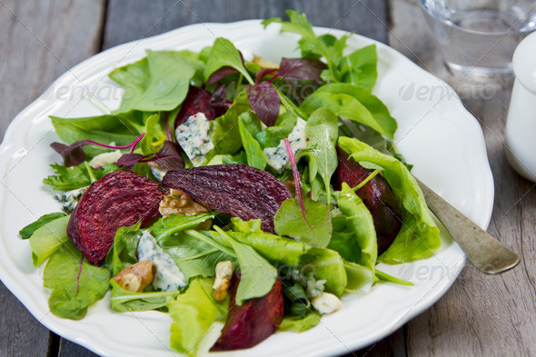 Roasted Beetroot with Blue cheese salad - Stock Photo - Images