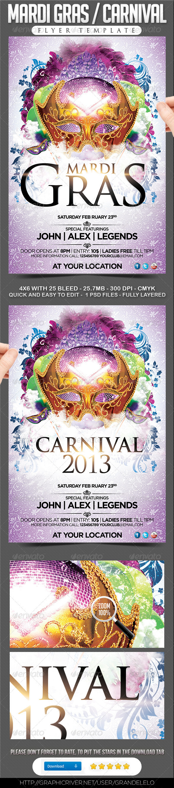 Mardi Gras / Carnival Flyer  - Events Flyers
