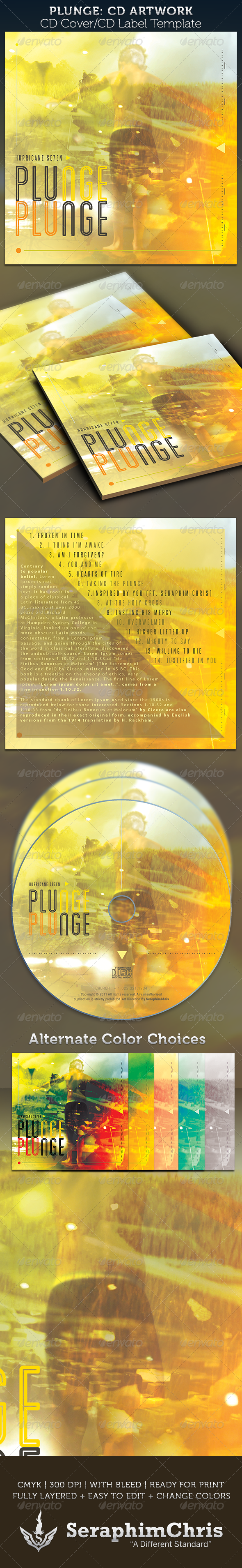 Plunge CD Cover Artwork Template - CD & DVD Artwork Print Templates