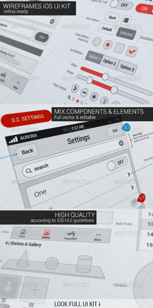 Wireframes iOS UI KIT - User Interfaces Web Elements
