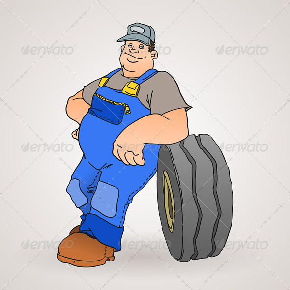 Car Mechanic with Tyre - People Characters