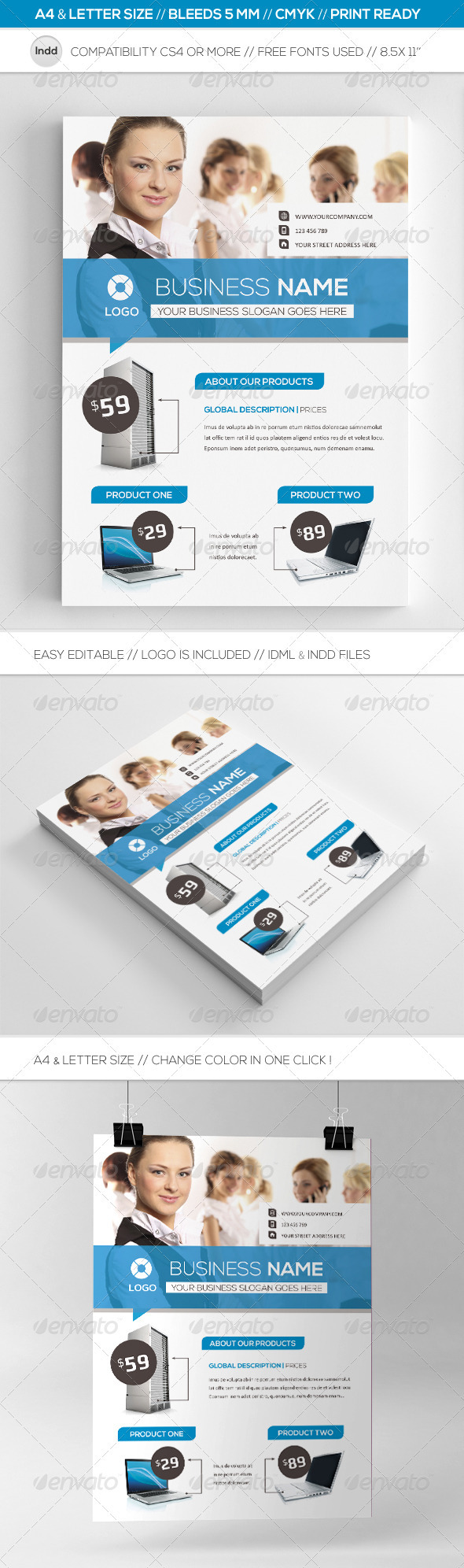 Business Commerce Flyer Template A4 & Letter - Corporate Flyers