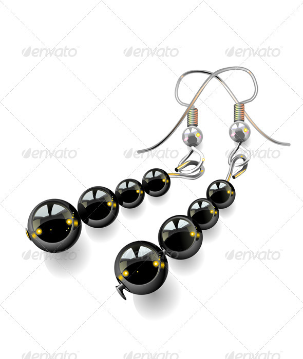 Vector women's jewelry, earrings with black stones - Man-made Objects Objects
