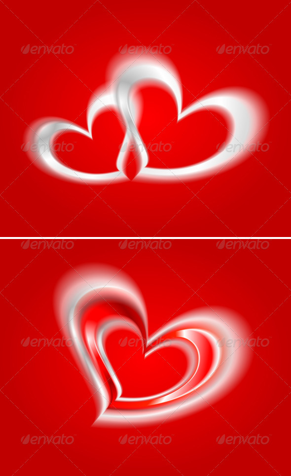 Vector hearts on the red backdrop - Valentines Seasons/Holidays