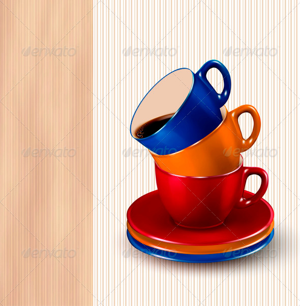 Background with colorful cups of coffee Coffee des - Food Objects