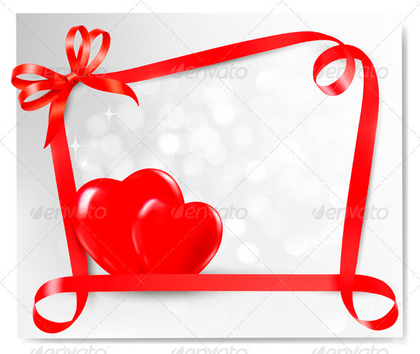 Valentine background with two red hearts - Valentines Seasons/Holidays