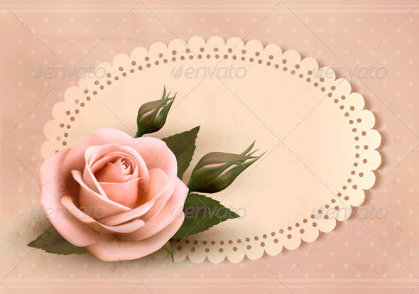 Retro greeting card with pink rose and bud - Weddings Seasons/Holidays