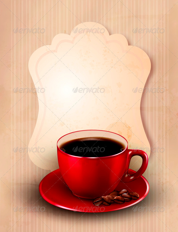 Retro card with cup of coffee - Food Objects