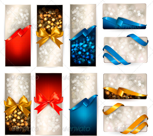 Set of beautiful Gift cards with color gift bows - Borders Decorative