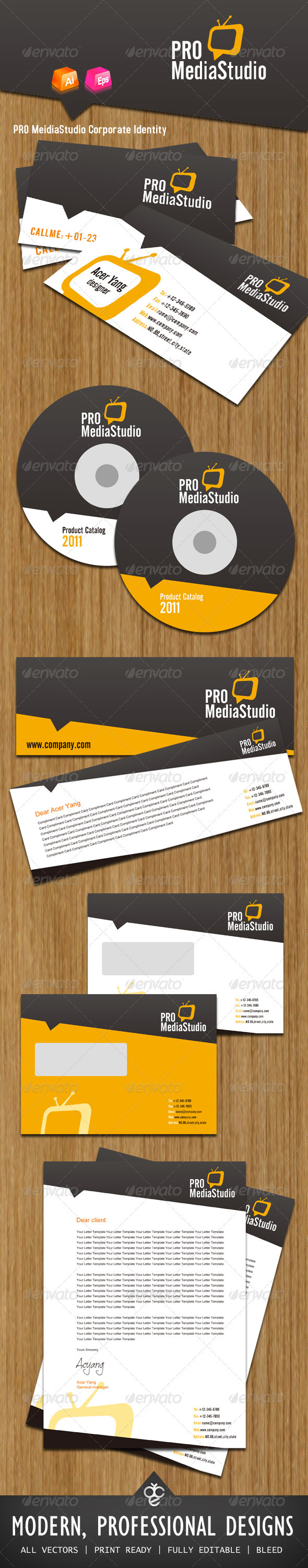 PRO MeidiaStudio Corporate Identity - Stationery Print Templates