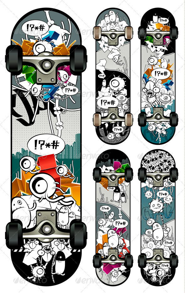 Vector set of graffiti skateboards styles - Vectors