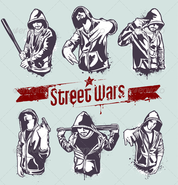 Vector set of hoody gangsters - Characters Vectors