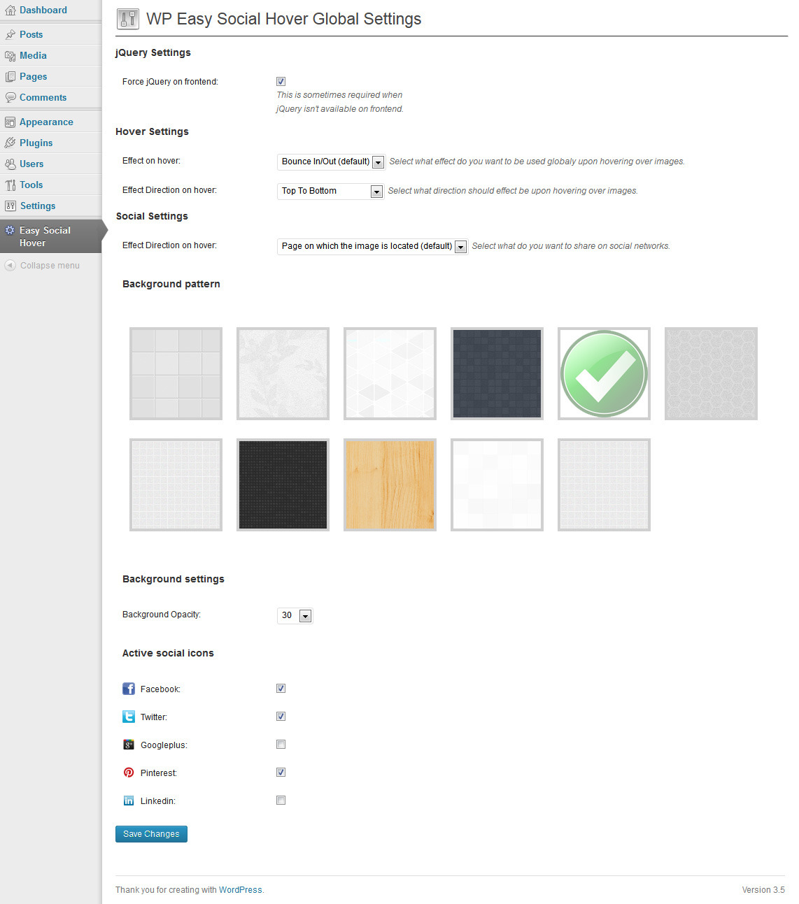WP Easy Social Hover