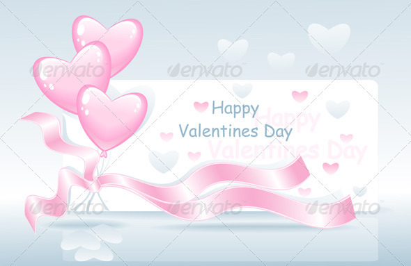 Valentines Day with Balloons, Ribbon and Hearts - Valentines Seasons/Holidays