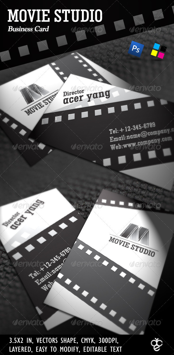Movie Studio Business Card - Industry Specific Business Cards
