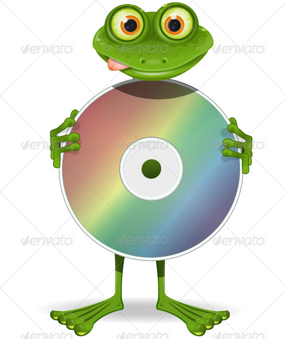 Frog and CD - Animals Characters