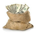 Money in the bag isolated