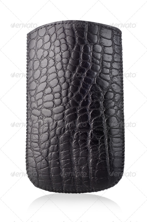 Black leather case - Stock Photo - Images