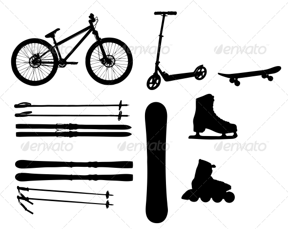 Sports Equipment Silhouettes - Man-made Objects Objects