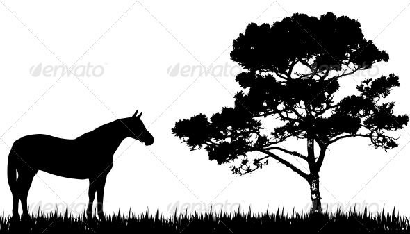 Silhouette of Horse and Tree - Animals Characters