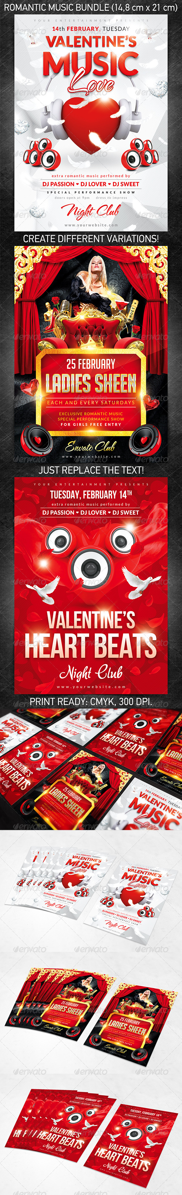 Romantic Music Flyer Bundle - Clubs & Parties Events