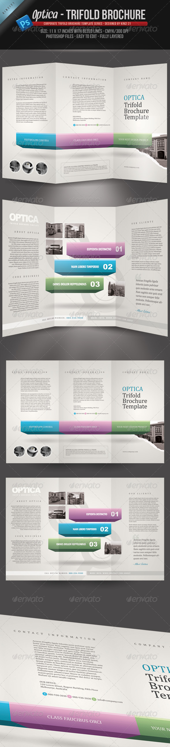 Optica Trifold Brochure Template - Corporate Brochures