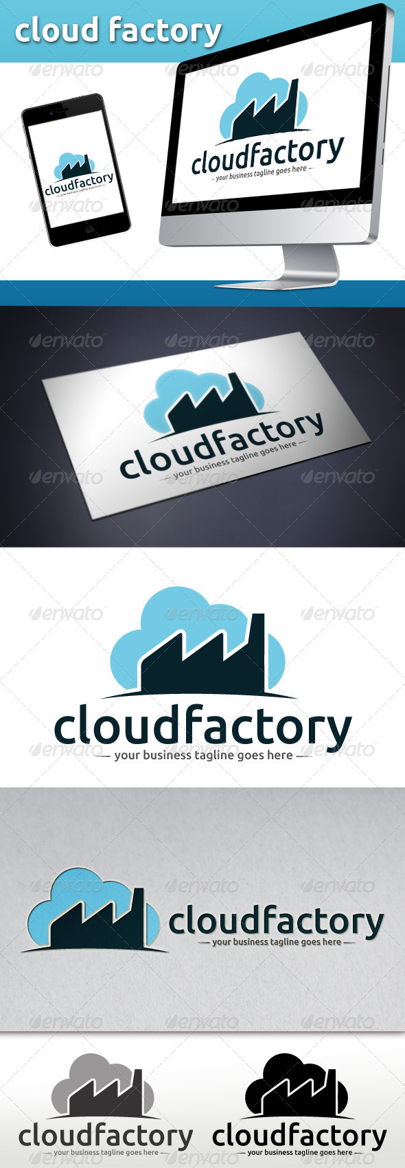 Cloud Factory Logo Template - Buildings Logo Templates