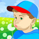 Vector boy blowing on a dandelion in the meadow - GraphicRiver Item for Sale