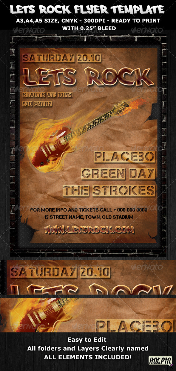 rock party concert flyer poster template concerts events