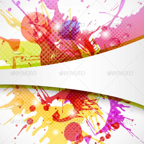 Background Element with Color Splashes - Backgrounds Decorative