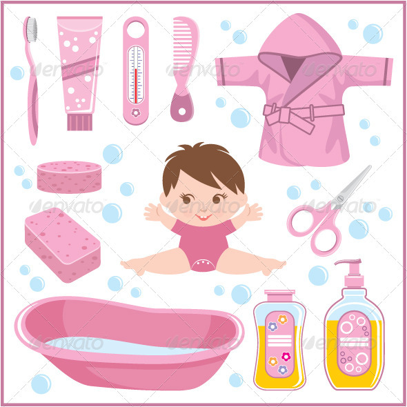 Set of Children's Things for Bathing - People Characters