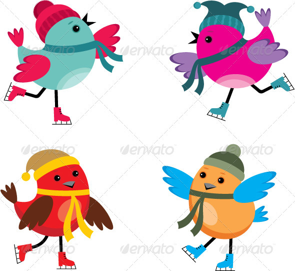 Birds on Ice Skates - Animals Characters